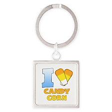 I Heart Candy Corn Square Keychain