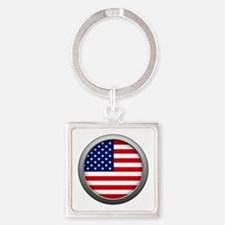 Round Flag - USA Square Keychain