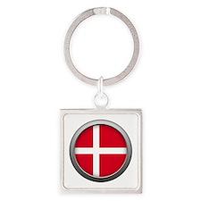 Round Flag - Denmark Square Keychain