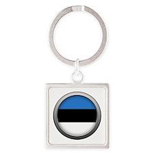 Round Flag - Estonia Square Keychain