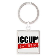 Occupy A Bar Stool Square Keychain