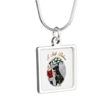 Flat-Coated Retriever Silver Square Necklace