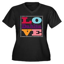 I Love Dahlia Women's Plus Size V-Neck Dark T-Shir