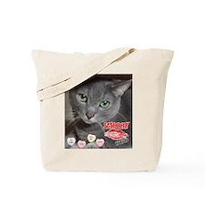Valentine Russian Blue Gray Cat Tote Bag