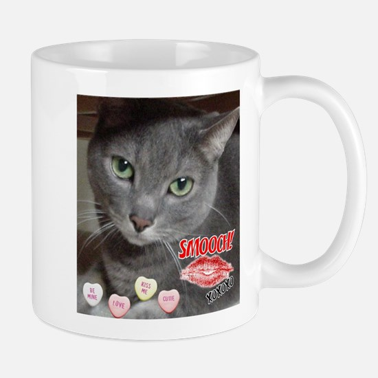 Valentine Russian Blue Gray Cat Mug