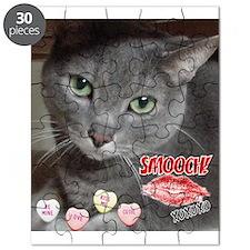 Valentine Russian Blue Gray Cat Puzzle