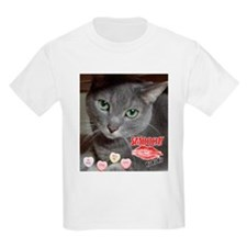 Valentine Russian Blue Gray Cat T-Shirt