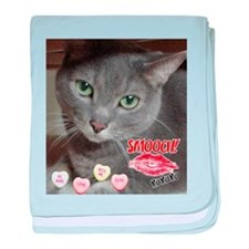 Valentine Russian Blue Gray Cat baby blanket