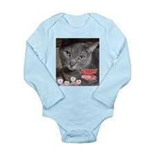 Valentine Russian Blue Gray Cat Long Sleeve Infant