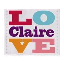 I Love Claire Throw Blanket