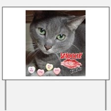 Valentine Russian Blue Gray Cat Yard Sign