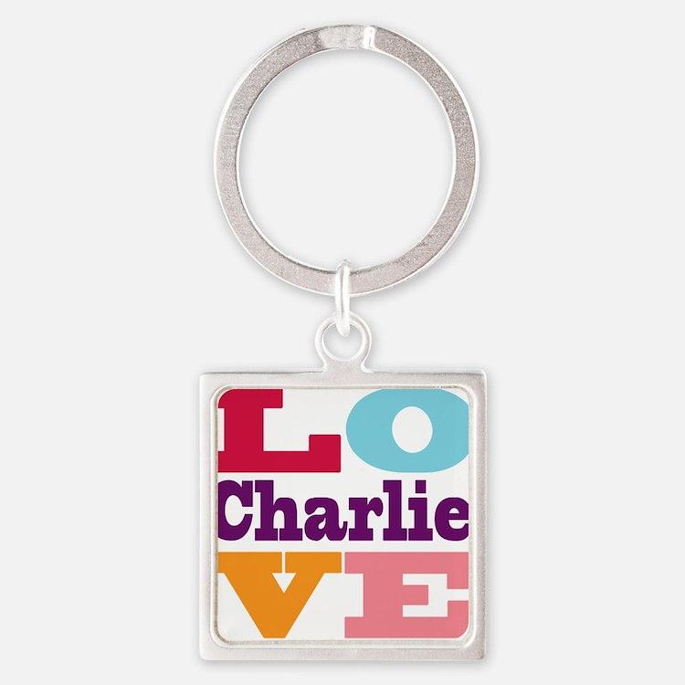 I Love Charlie Square Keychain