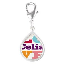 I Love Celia Silver Teardrop Charm