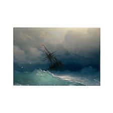 Aivazovsky - Ship on Stormy Seas Rectangle Magnet