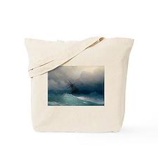 Aivazovsky - Ship on Stormy Seas Tote Bag
