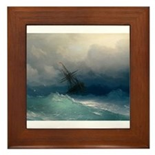 Aivazovsky - Ship on Stormy Seas Framed Tile