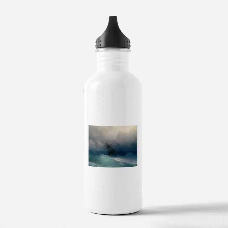 Aivazovsky - Ship on Stormy Seas Water Bottle