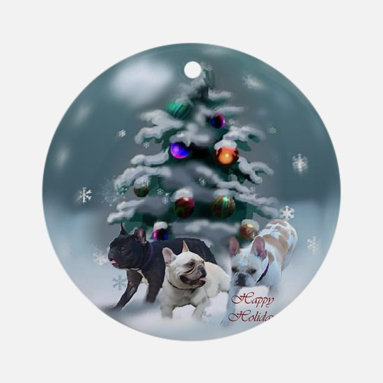 French Bulldog Christmas Round Ornament
