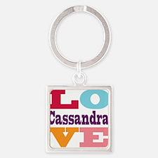 I Love Cassandra Square Keychain