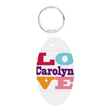 I Love Carolyn Aluminum Oval Keychain