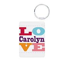 I Love Carolyn Aluminum Photo Keychain