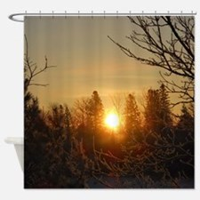 Sunrise in the Trees Shower Curtain
