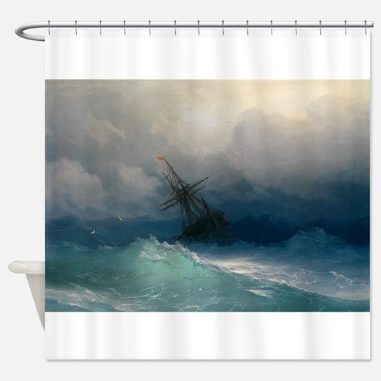 Aivazovsky - Ship on Stormy Seas Shower Curtain