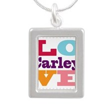 I Love Carley Silver Portrait Necklace