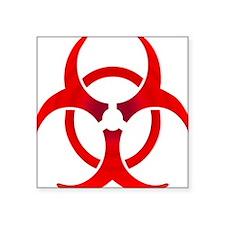 "Ruby Bio-hazard Square Sticker 3"" x 3"""