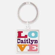 I Love Caitlyn Square Keychain
