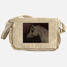 Gray Arabian Stallion Head Profile Messenger Bag