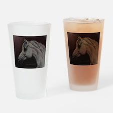 Gray Arabian Stallion Head Profile Drinking Glass