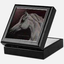 Gray Arabian Stallion Head Profile Keepsake Box