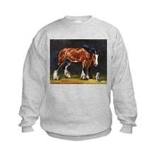 Clydesdale Horse and Cat Sweatshirt