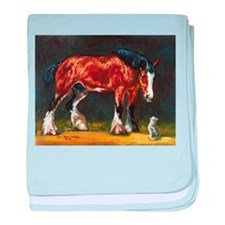 Clydesdale Horse and Cat baby blanket