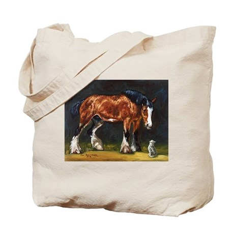 Clydesdale Horse and Cat Tote Bag
