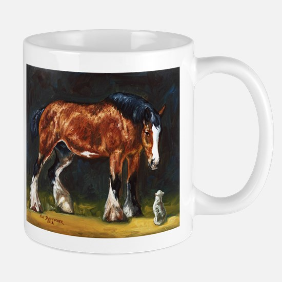 Clydesdale Horse and Cat Mug