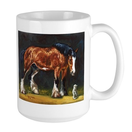 Clydesdale Horse and Cat Large Mug
