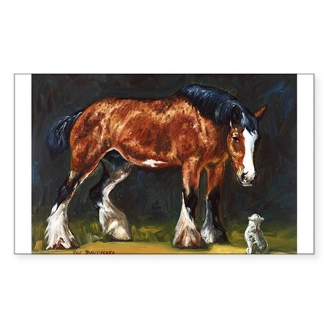 Clydesdale Horse and Cat Sticker (Rectangle)