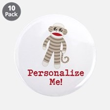 """Classic Sock Monkey 3.5"""" Button (10 pack)"""