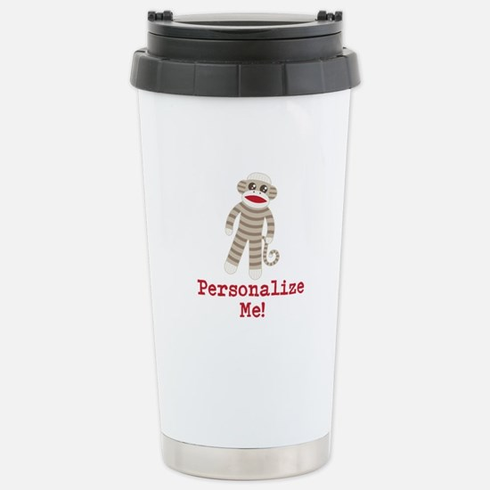 Classic Sock Monkey Stainless Steel Travel Mug