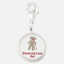 Classic Sock Monkey Silver Round Charm