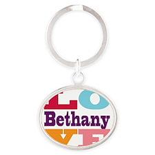 I Love Bethany Oval Keychain