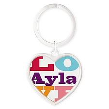 I Love Ayla Heart Keychain