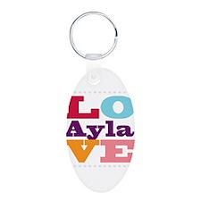 I Love Ayla Aluminum Oval Keychain