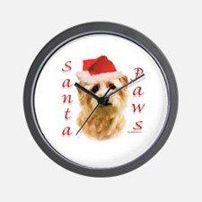 Santa Paws Norfolk Terrier Wall Clock
