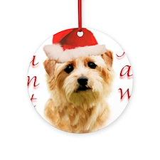 Santa Paws Norfolk Terrier Ornament (Round)