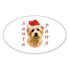 Santa Paws Norfolk Terrier Oval Decal