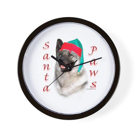 Santa Paws Elkhound Wall Clock
