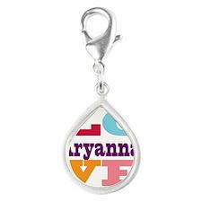 I Love Aryanna Silver Teardrop Charm